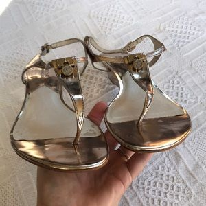 MICHAEL Michael Kors Shoes - MICHAEL Michael Kors Gold Metallic Sandals Size 9